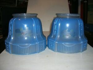 Lot Of 2 Antique Hand Painted Frosted Art Glass Lamp Light Fixture Shade