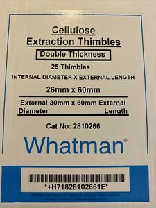 Ge Healthcare Whatman 2800 266 Cellulose Extraction Thimbles 25 Pcs New