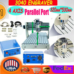 400w 4 Axis Cnc 3040 Router Engraver Engraving Cutting Milling Drilling Machine