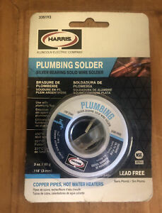 New Harris Plumbing Solder Silver Bearing Solid Wire 3oz 335193 Lead Free