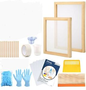 Screen Printing Starter Kit For Shirts 36 Pieces Squeegee 2 Silk Screen Frames