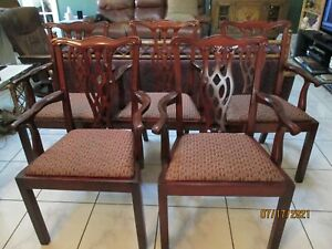 Vintage Chippendale Style Mahogany Armchairs Set Of 5