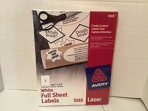 Avery 5165 White Full Sheets 8 1 2 X 11 100 Labels