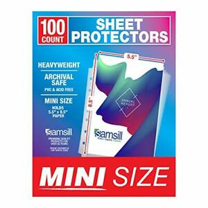 Samsill 100 Pack Mini Clear Heavyweight Sheet Protectors 5 5 X 8 5 Inch Page