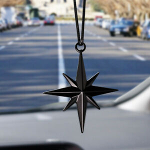 Car Auto Rearview Mirror Pendant Guide Star North Ornament Hanging Charm Black