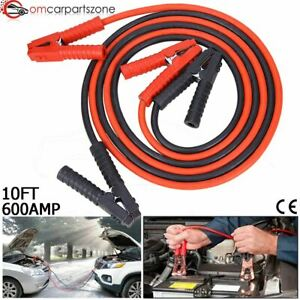Heavy Duty 2 Gauge Battery Booster Cable Emergency Power Jumper 600amp 10ft Auto