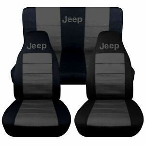 1997 2002 Jeep Wrangler Tj Seat Covers Charcoal Gray Canvas Front Rear 15715