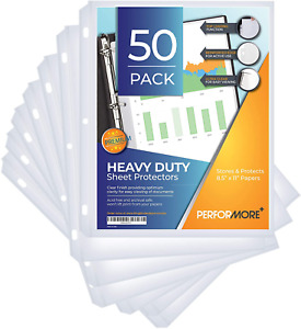 Performore Heavy Duty Clear Sheet Protectors Top Load Pack Of 50 Reinforced 3