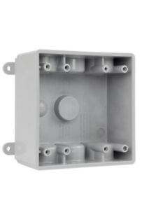 Commercial Electric 1 2 In Gray 2 gang 7 holes Non metallic Weatherproof Box
