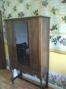 Antique China Cabinet Circa 1920s To 1940s Tall Vintage Cabinet