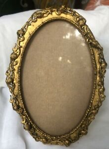 Antique Fancy Brass Oval Picture Frame 6 1 4 X 4 1 2