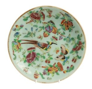 Antique Chinese Rose Canton Green Celadon Glazed Plate With Butterfly Flowers