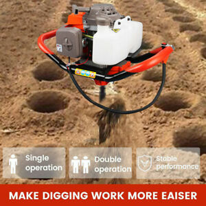 72cc Gas Powered Post Hole Digger 4hp Earth Auger Digging Engine Power Engine