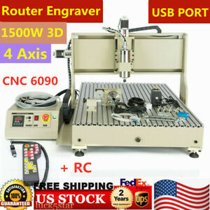 4 Axis Cnc Router 6090 Machine Engraving Milling 1 5kw 3d Cutting Remote