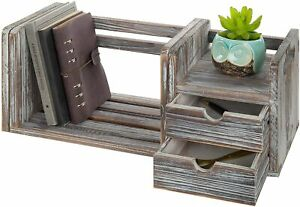 2 drawer Distressed Torched Wood Expandable Desktop Bookcase Organizer 20 31 In