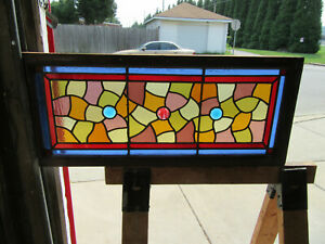 Antique Stained Glass Transom Window Colorful 34 X 14 Salvage