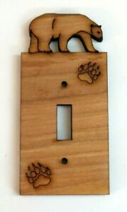Engraved Bear Wood Single Switch Plate Cover Bear Paw $8.50
