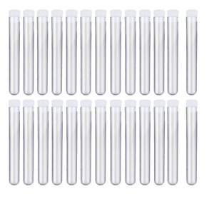 Muhome 12x100mm 8ml Clear Plastic Test Tubes With Caps For Scientific Experiment