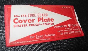Vintage American Optical Sure guard Weld Cover Plate No 176 Usa 2 X 4 1 4 Nos
