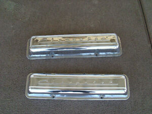 Vintage Chrome Chevy Valve Covers Factory 327 Sbc Traditional Hot Rat Rod 283