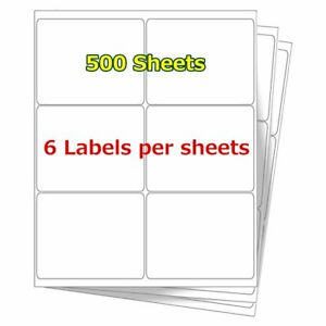 3 1 3 X 4 3000 Address Shipping Barcode Mailing Blank Label Self Adhesive 6 up
