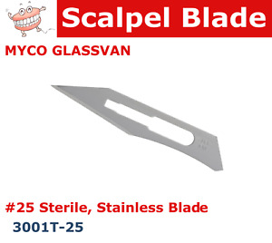 Dental Surgical Scalpel Blade 25 Sterile Stainless 015 Thick Myco Glassvan