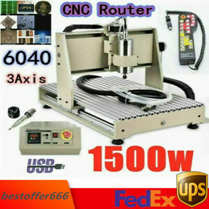 Usb 3 Axis Cnc Router 6040 Engraver Engraving Machine Woodwork 1500w With Remote