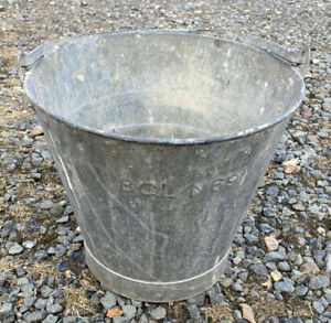 Old Vintage Military Bcl 69 10 75 Tall Galvanised Metal Bucket Pail Planter