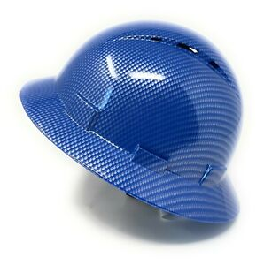 Hdpe Hydro Dipped Full Brim Hard Hat With Fas trac Suspension Shiny Blue