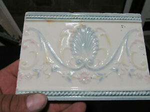 Lot Of 5 Antique Victorian Tiles Seashells Architectural Salvage