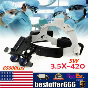 Dental Surgical Magnifier Binocular Loupes 3 5x Dentist With Led Head Light 5w