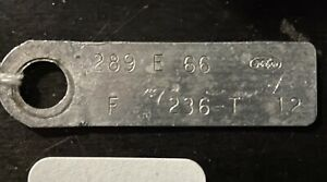 1966 Ford Engine Id Tag 289 V8 Mustang Fairlane Falcon Galaxie