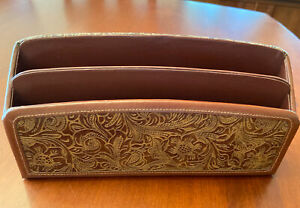 Classic Wolf Designs Brown Leather Embossed Letter Holder Desk Organizer
