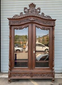 Antique Classic Vintage Hand Carved Wood Armoire Wardrobe Cabinet Closet Holland