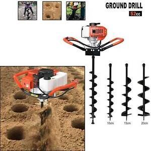 52cc Earth Auger 2 stroke Gas Powered One Man Post Hole Digger Machine 3 Bits