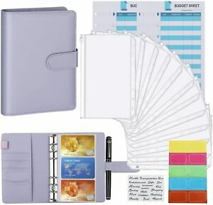 Housolution Pu Leather A6 Budget Binder Case W 12 Expense Budget Sheets labels