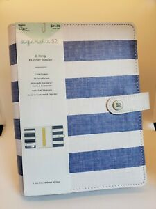Blue White Striped The Paper Studio 6 ring Planner Binder 7 5 Inch X 9 5 Inch