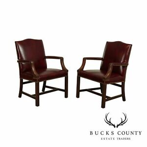 Chippendale Style Leather Pair Of Mahogany Oxblood Leather Armchairs