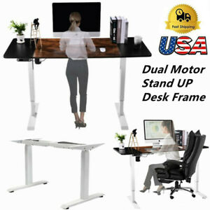 Dual Motor Electric Standing Desk Frame Height Adjustable For Home Office Table