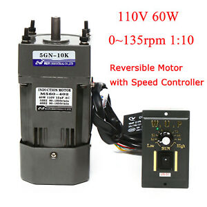 60w 110v Ac Gear Motor Electric Variable With Speed Controller 1 10 0 135rpm