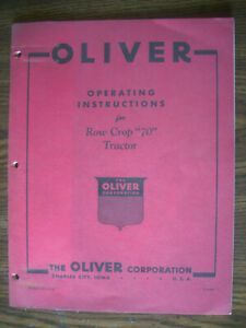 Oliver 70 Owners Manual
