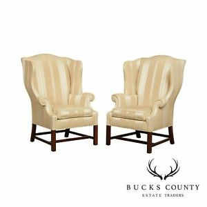 Baker Chippendale Style Pair Mahogany Wing Chairs