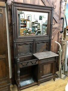 Antique Walnut Victorian Eastlake Entry Stand Hall Tree