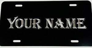 Custom Personalized Name In Bold Diamond Etched Engraved License Plate Car Tag