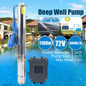 72v 3 Solar Water Pump System Deep Well Submersible Kit Mppt Controller 1100w