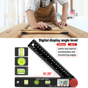 230mm Digital Angle Finder Protractor Spirit Level Ruler With Battery Portable