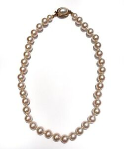 """Vintage Carol Lee Single Strand Faux Pearl Necklace 17.25"""" in Peachy Pink Signed $32.95"""