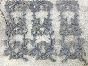3 Wrought Iron Panels Salvage Sold As Is Acorn And Leaf S