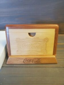 Coca Cola Wood Business Card Holder With Office Desk Display Stand Wooden