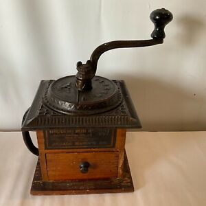 Antique Imperial Coffee Spice Mill No 557 Cast Iron Wood Pat 1889 Drawer